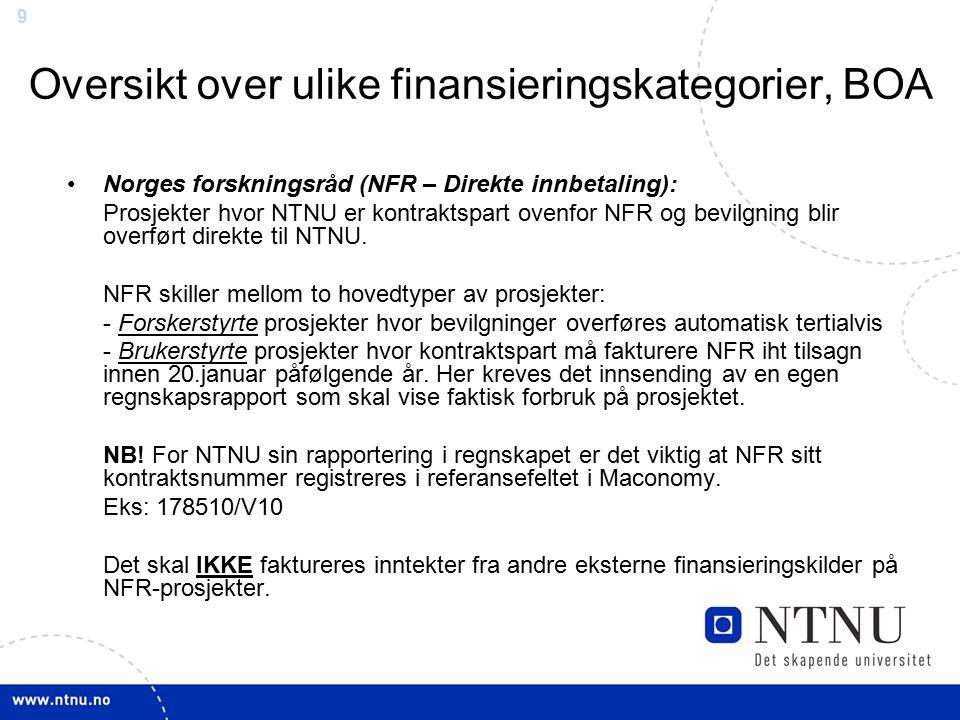 99 Oversikt over ulike finansieringskategorier, BOA Norges forskningsråd (NFR – Direkte innbetaling): Prosjekter hvor NTNU er kontraktspart ovenfor NF