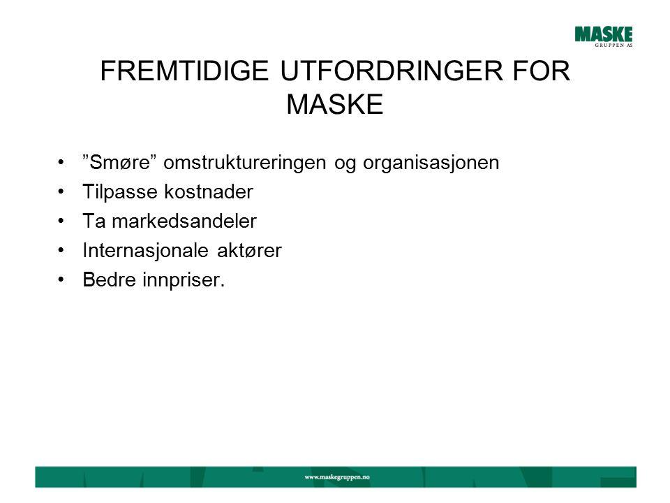MASKE SOM TRANSPORT- /LOGISTIKKBEDRIFT Distribusjon/Lager i Tromsø, Sandane, Trondheim og Vinterbro Egen distribusjon i Sandane og Trondheim Kjøper tjenester fra Tollpost, Cargo Partner, Torpa Bil og Bråthen & Mikalsen.