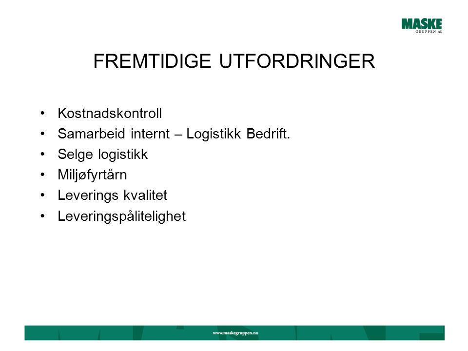 FREMTIDIGE UTFORDRINGER Kostnadskontroll Samarbeid internt – Logistikk Bedrift.