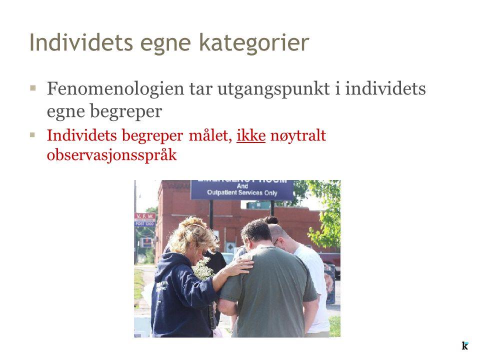 Individets egne kategorier  Fenomenologien tar utgangspunkt i individets egne begreper  Individets begreper målet, ikke nøytralt observasjonsspråk