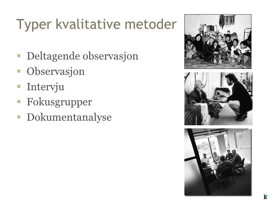Typer kvalitative metoder  Deltagende observasjon  Observasjon  Intervju  Fokusgrupper  Dokumentanalyse