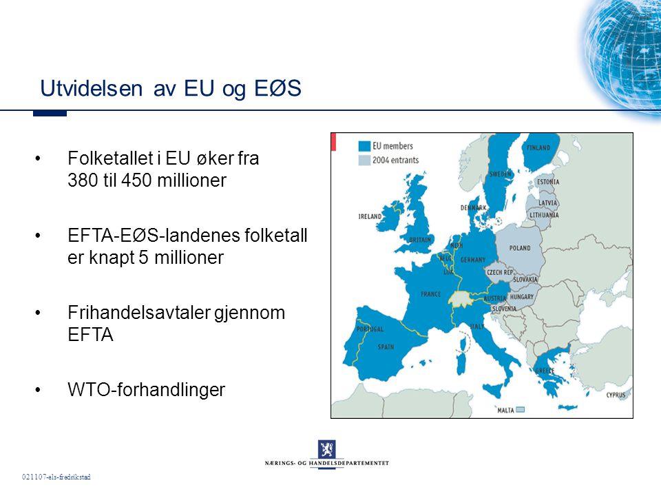 021107-els-fredrikstad Utvidelsen av EU og EØS Folketallet i EU øker fra 380 til 450 millioner EFTA-EØS-landenes folketall er knapt 5 millioner Frihandelsavtaler gjennom EFTA WTO-forhandlinger