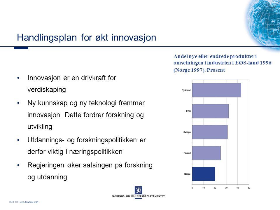 021107-els-fredrikstad Handlingsplan for økt innovasjon Innovasjon er en drivkraft for verdiskaping Ny kunnskap og ny teknologi fremmer innovasjon.