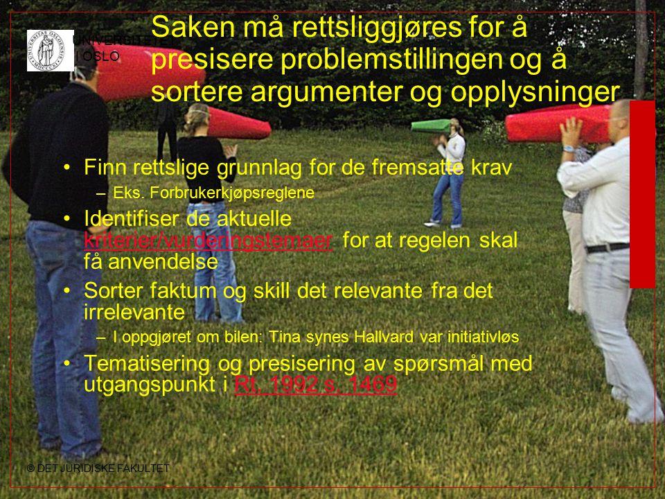 © DET JURIDISKE FAKULTET UNIVERSITETET I OSLO Saken må rettsliggjøres for å presisere problemstillingen og å sortere argumenter og opplysninger Finn r