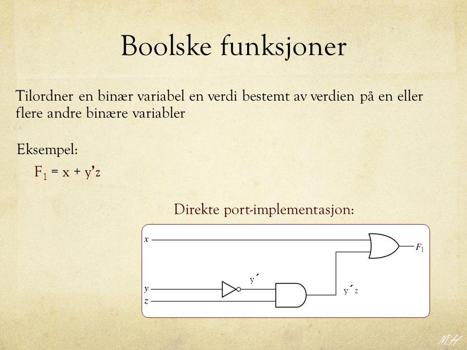 Boolske funksjoner Tilordner en binær variabel en verdi bestemt av verdien på en eller flere andre binære variabler Eksempel: F 1 = x + y ' z Direkte port-implementasjon: y´zy´z y´y´