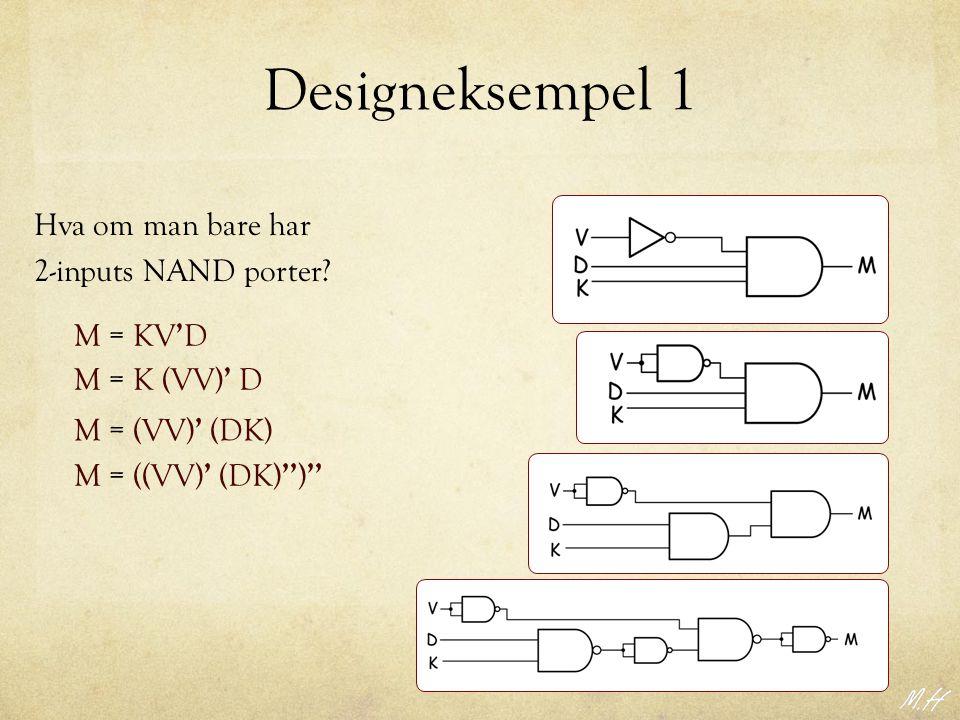Designeksempel 1 Hva om man bare har 2-inputs NAND porter? M = KV ' D M = K (VV) ' D M = (VV) ' (DK) M = ((VV) ' (DK) '' ) ''