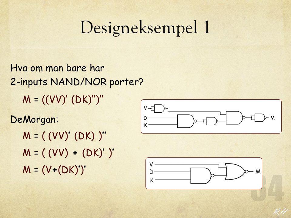 Designeksempel 1 Hva om man bare har 2-inputs NAND/NOR porter? M = ((VV)' (DK)'')'' M = ( (VV)' (DK) )'' DeMorgan: M = ( (VV) + (DK)' )' M = (V+(DK)')