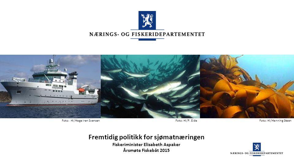 Fremtidig politikk for sjømatnæringen Fiskeriminister Elisabeth Aspaker Årsmøte Fiskebåt 2015 Foto: HI/P. EideFoto: HI/Henning SteenFoto: HI/Hege Iren