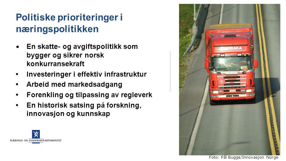 Politiske prioriteringer i næringspolitikken En skatte- og avgiftspolitikk som bygger og sikrer norsk konkurransekraft Investeringer i effektiv infras