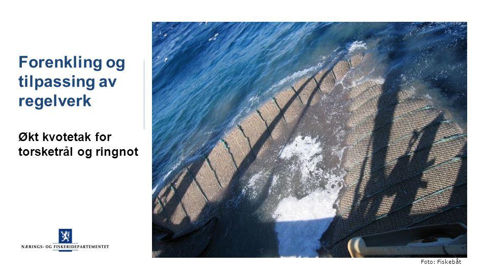 Forenkling og tilpassing av regelverk Økt kvotetak for torsketrål og ringnot Foto: Fiskebåt