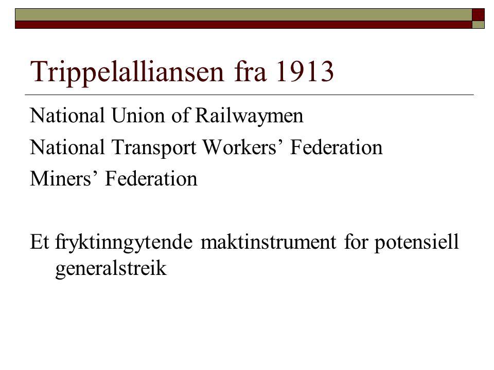 Et oppgjør i tre faser  1919: Styresmaktene avverger gruvekonflikt  1921: Black Friday – trippelalliansen oppløst  1926: Generalstreik og heroisk nederlag