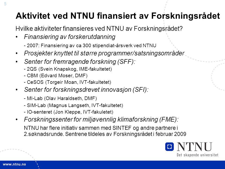 55 Hvilke aktiviteter finansieres ved NTNU av Forskningsrådet.