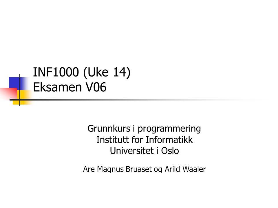 2007-05-07 22 Svar på 3b, innlesing fra fil void registrerBok (In inn) { while(!inn.endOfFile()) { inn.inWord()); String forfatter = inn.inLine(); inn.inWord(); String tittel = inn.inLine(); inn.inWord(); String utgivelsesår = inn.inLine(); inn.inWord(); String iSBNnr = inn.inLine(); inn.inWord(); String eier = inn.inLine(); inn.inWord(); String låntAv = inn.inLine(); inn.inLine(); Bok b = new Bok(forfatter, tittel, utgivelsesår, iSBNnr, eier, låntAv); String nøkkel = iSBNnr + eier; bib.put(nøkkel, b); }