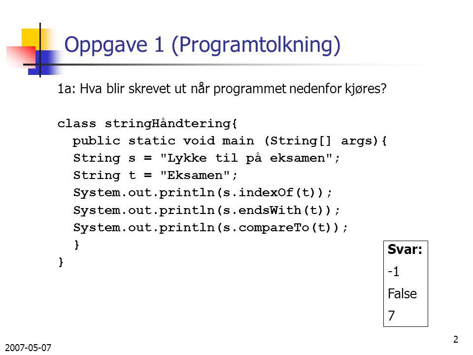 2007-05-07 23 Svar på 3b, utskrift void utskrift (Out ut) { Iterator it = bib.values().iterator(); while(it.hasNext()) { Bok b = (Bok) it.next(); b.utskrift(ut); }