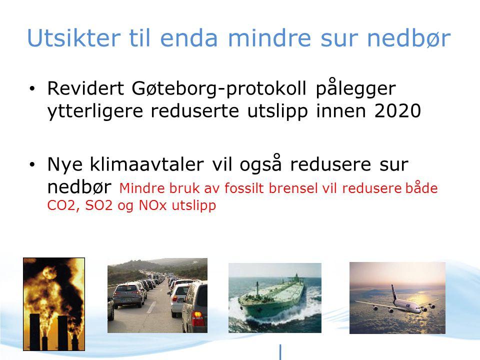 Utsikter til enda mindre sur nedbør Revidert Gøteborg-protokoll pålegger ytterligere reduserte utslipp innen 2020 Nye klimaavtaler vil også redusere s