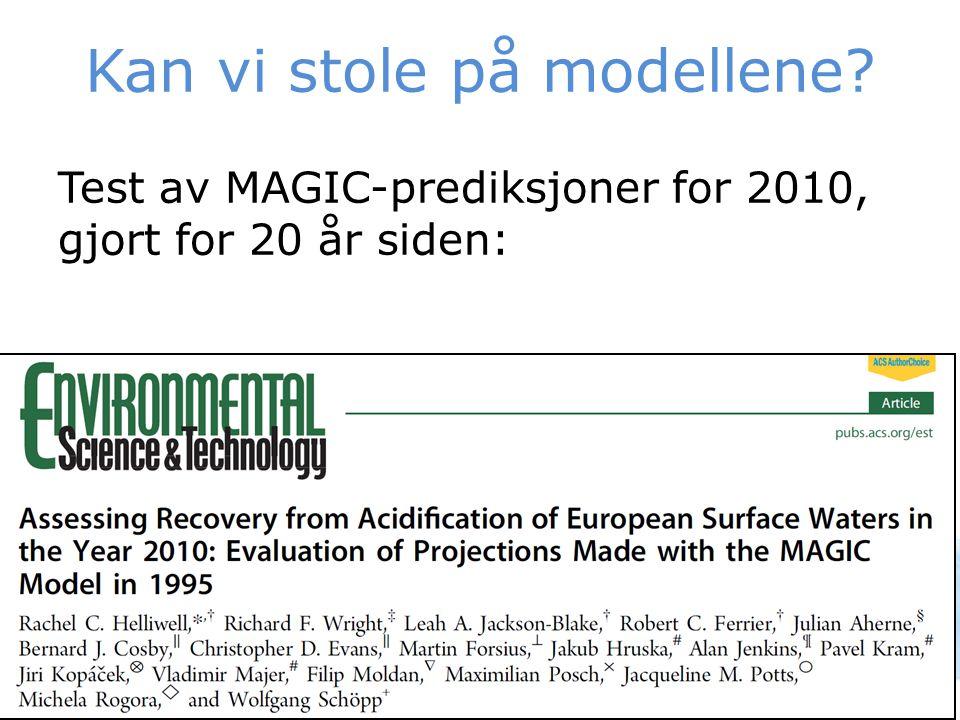 Kan vi stole på modellene? Test av MAGIC-prediksjoner for 2010, gjort for 20 år siden: