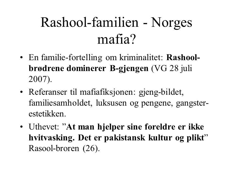 Rashool-familien - Norges mafia? En familie-fortelling om kriminalitet: Rashool- brødrene dominerer B-gjengen (VG 28 juli 2007). Referanser til mafiaf