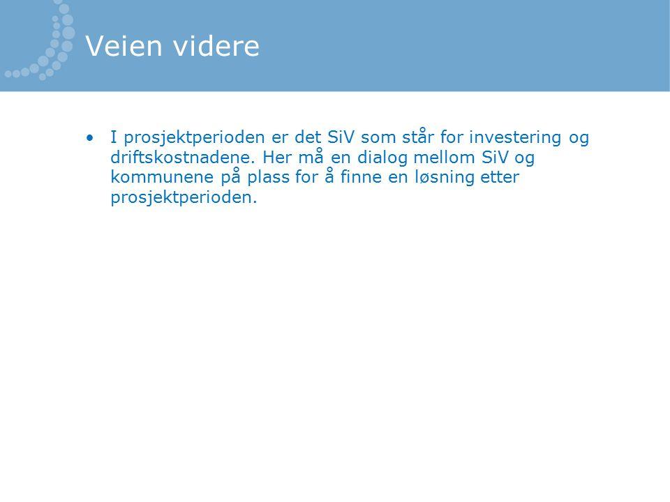 Veien videre I prosjektperioden er det SiV som står for investering og driftskostnadene.