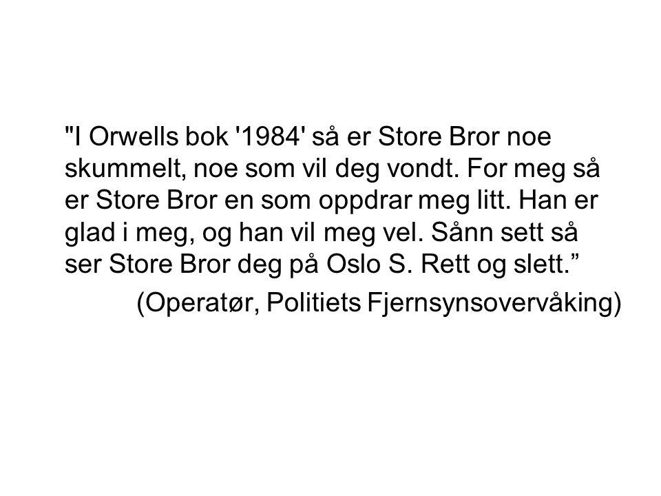 I Orwells bok 1984 så er Store Bror noe skummelt, noe som vil deg vondt.