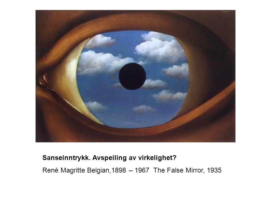 Sanseinntrykk. Avspeiling av virkelighet? René Magritte Belgian,1898 – 1967 The False Mirror, 1935