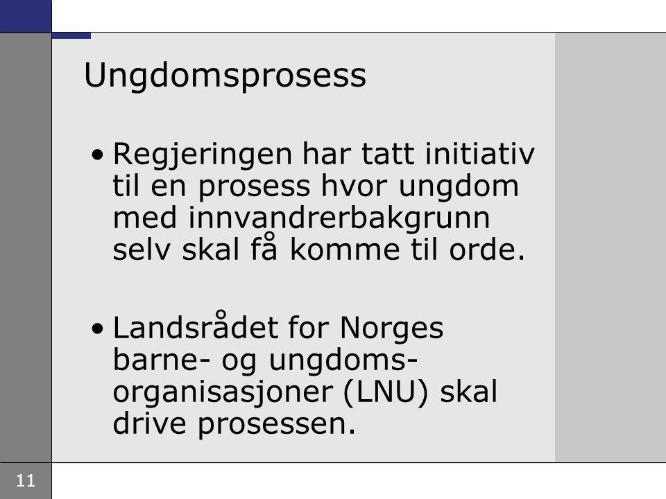 11 Ungdomsprosess Regjeringen har tatt initiativ til en prosess hvor ungdom med innvandrerbakgrunn selv skal få komme til orde. Landsrådet for Norges