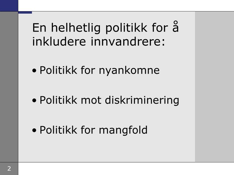 2 En helhetlig politikk for å inkludere innvandrere: Politikk for nyankomne Politikk mot diskriminering Politikk for mangfold