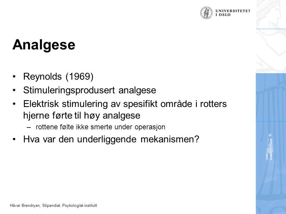 Håvar Brendryen, Stipendiat, Psykologisk institutt Analgese Reynolds (1969) Stimuleringsprodusert analgese Elektrisk stimulering av spesifikt område i