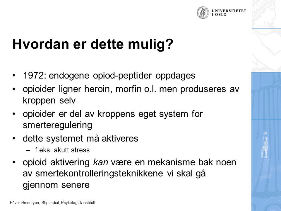 Håvar Brendryen, Stipendiat, Psykologisk institutt Hvordan er dette mulig? 1972: endogene opiod-peptider oppdages opioider ligner heroin, morfin o.l.