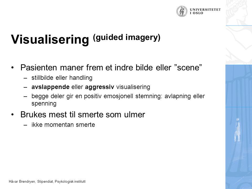 """Håvar Brendryen, Stipendiat, Psykologisk institutt Visualisering (guided imagery) Pasienten maner frem et indre bilde eller """"scene"""" –stillbilde eller"""