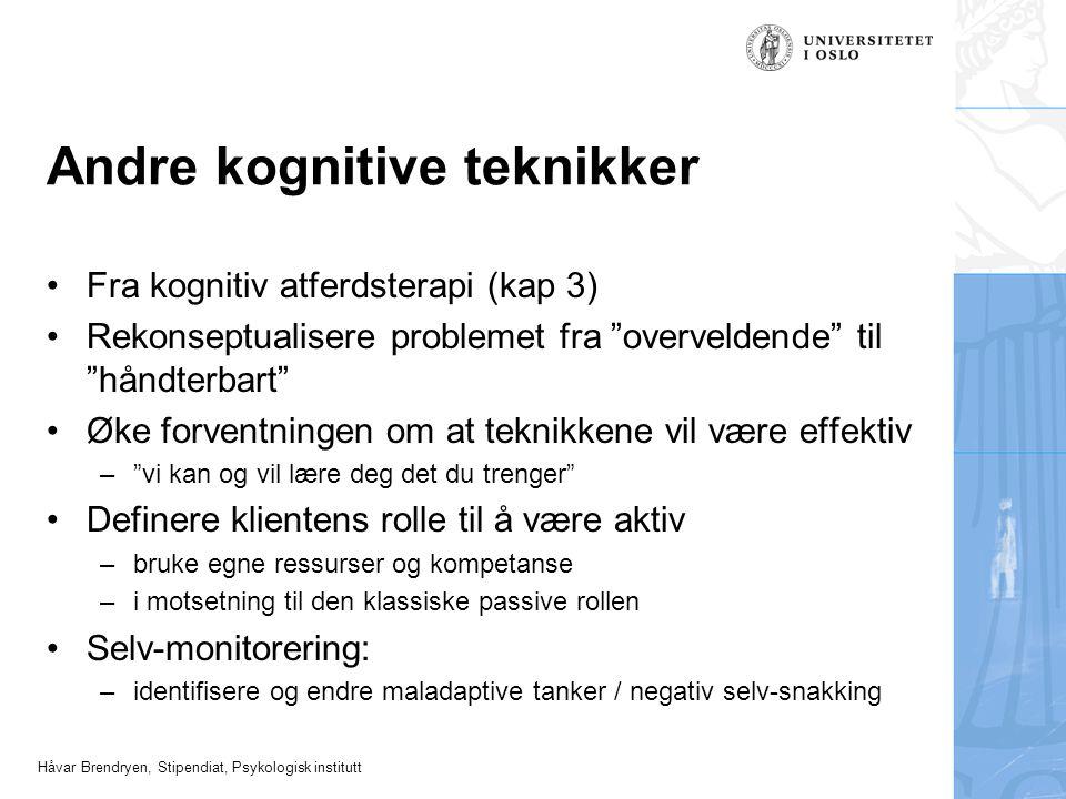 """Håvar Brendryen, Stipendiat, Psykologisk institutt Andre kognitive teknikker Fra kognitiv atferdsterapi (kap 3) Rekonseptualisere problemet fra """"overv"""