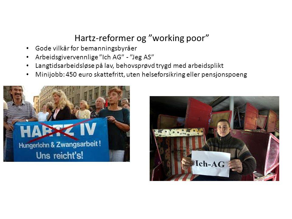 "Hartz-reformer og ""working poor"" Gode vilkår for bemanningsbyråer Arbeidsgivervennlige ""Ich AG"" - ""Jeg AS"" Langtidsarbeidsløse på lav, behovsprøvd try"