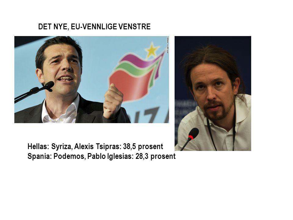 Hellas: Syriza, Alexis Tsipras: 38,5 prosent Spania: Podemos, Pablo Iglesias: 28,3 prosent DET NYE, EU-VENNLIGE VENSTRE