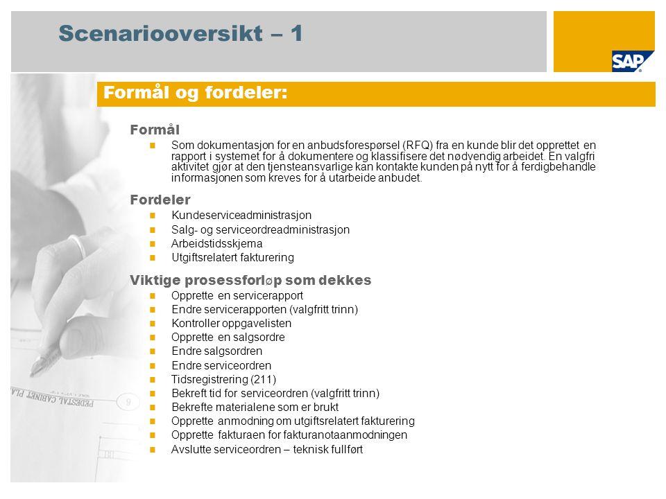 Scenariooversikt – 1 Formål Som dokumentasjon for en anbudsforespørsel (RFQ) fra en kunde blir det opprettet en rapport i systemet for å dokumentere o