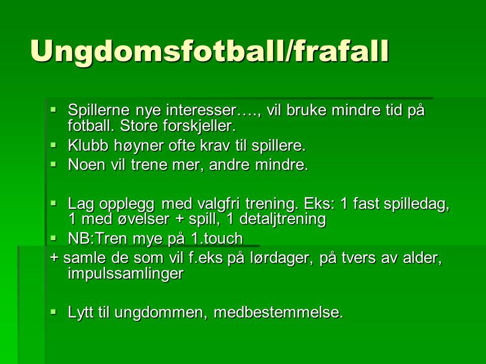 Ungdomsfotball/frafall  Spillerne nye interesser…., vil bruke mindre tid på fotball.