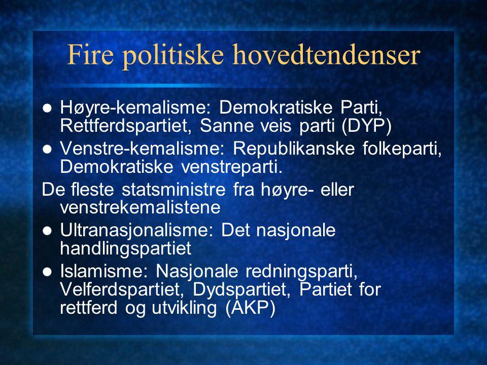 Fire politiske hovedtendenser Høyre-kemalisme: Demokratiske Parti, Rettferdspartiet, Sanne veis parti (DYP) Venstre-kemalisme: Republikanske folkepart