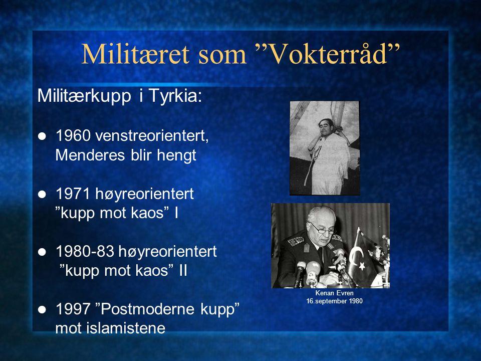 """Militæret som """"Vokterråd"""" Militærkupp i Tyrkia: 1960 venstreorientert, Menderes blir hengt 1971 høyreorientert """"kupp mot kaos"""" I 1980-83 høyreorienter"""