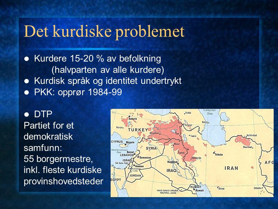 Det kurdiske problemet Kurdere 15-20 % av befolkning (halvparten av alle kurdere) Kurdisk språk og identitet undertrykt PKK: opprør 1984-99 DTP Partie
