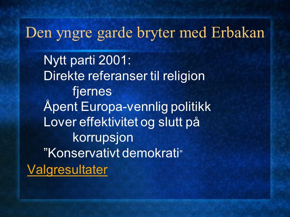 Den yngre garde bryter med Erbakan Valgresultater Nytt parti 2001: Direkte referanser til religion fjernes Åpent Europa-vennlig politikk Lover effekti