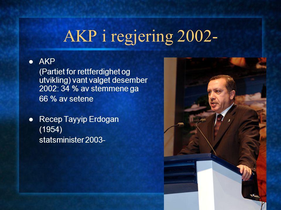 AKP i regjering 2002- AKP (Partiet for rettferdighet og utvikling) vant valget desember 2002: 34 % av stemmene ga 66 % av setene Recep Tayyip Erdogan