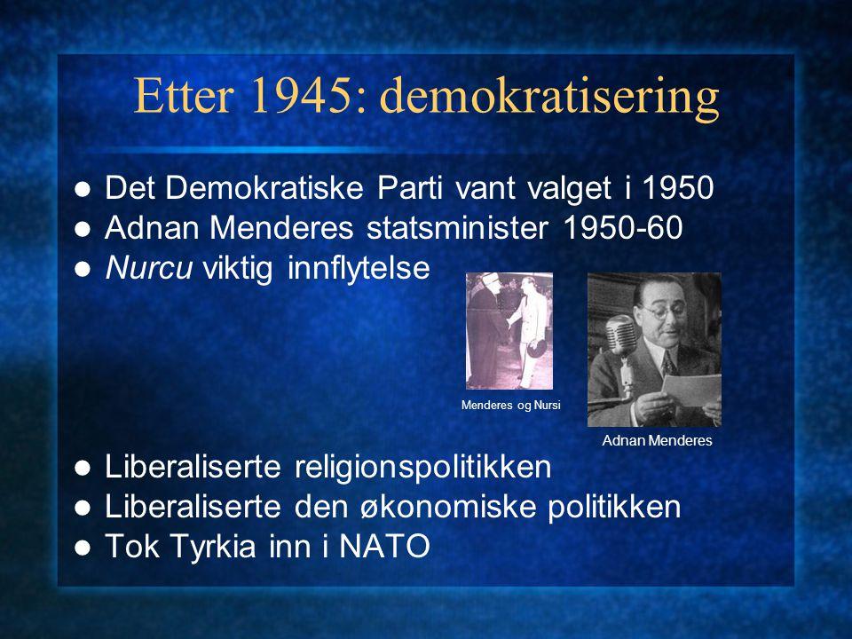 Fire politiske hovedtendenser Høyre-kemalisme: Demokratiske Parti, Rettferdspartiet, Sanne veis parti (DYP) Venstre-kemalisme: Republikanske folkeparti, Demokratiske venstreparti.