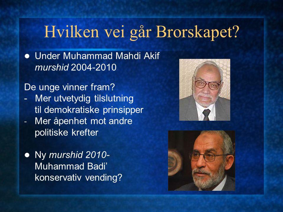 Hvilken vei går Brorskapet? Under Muhammad Mahdi Akif murshid 2004-2010 De unge vinner fram? - Mer utvetydig tilslutning til demokratiske prinsipper -