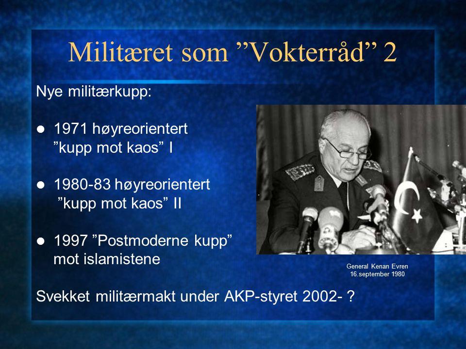"""Militæret som """"Vokterråd"""" 2 Nye militærkupp: 1971 høyreorientert """"kupp mot kaos"""" I 1980-83 høyreorientert """"kupp mot kaos"""" II 1997 """"Postmoderne kupp"""" m"""