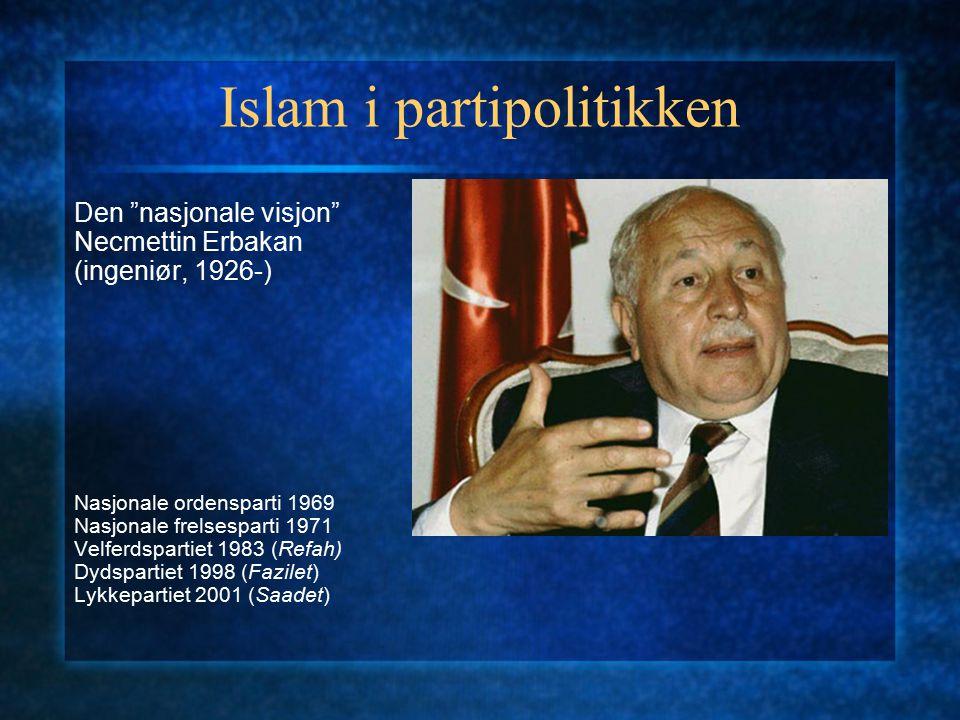 """Islam i partipolitikken Den """"nasjonale visjon"""" Necmettin Erbakan (ingeniør, 1926-) Nasjonale ordensparti 1969 Nasjonale frelsesparti 1971 Velferdspart"""