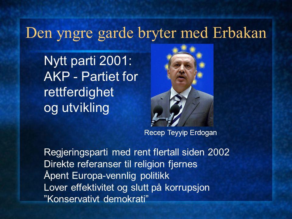 Den yngre garde bryter med Erbakan Nytt parti 2001: AKP - Partiet for rettferdighet og utvikling Regjeringsparti med rent flertall siden 2002 Direkte