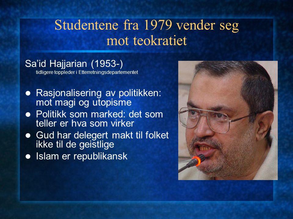 Studentene fra 1979 vender seg mot teokratiet Sa'id Hajjarian (1953-) tidligere toppleder i Etterretningsdepartementet Rasjonalisering av politikken: