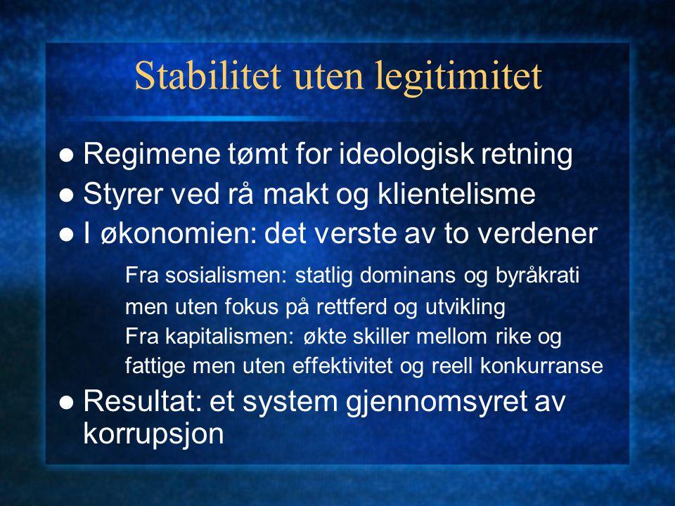 Stabilitet uten legitimitet Regimene tømt for ideologisk retning Styrer ved rå makt og klientelisme I økonomien: det verste av to verdener Fra sosiali