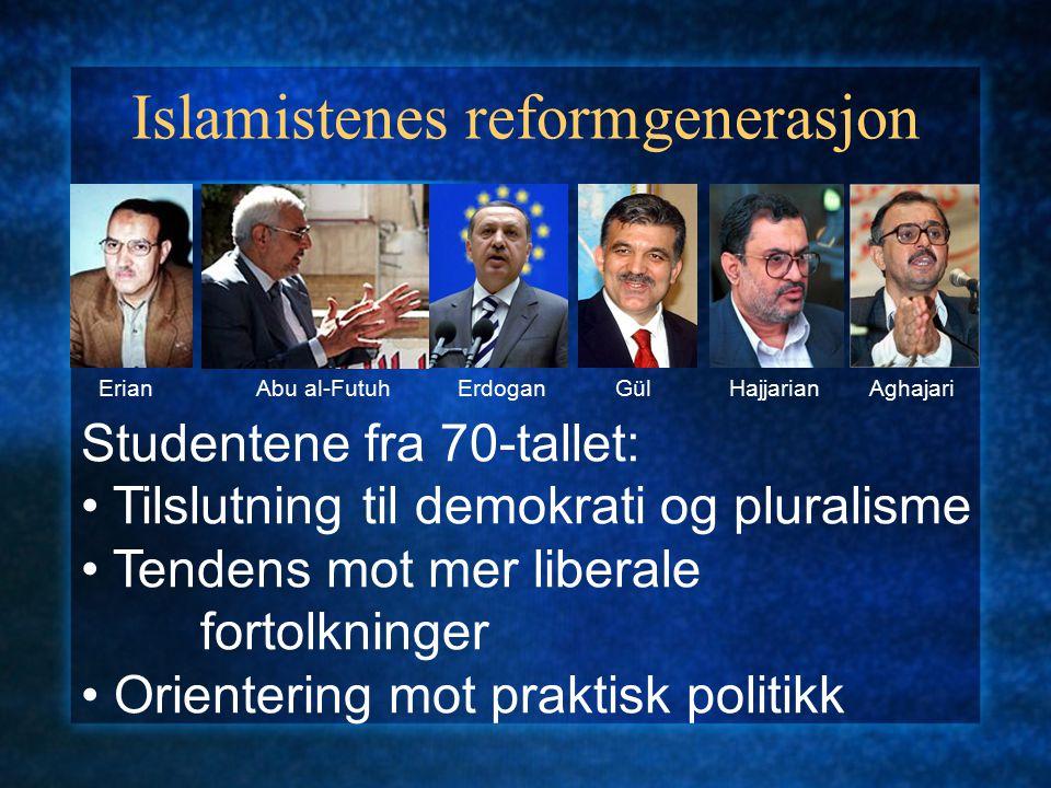 Islamistenes reformgenerasjon ErianAbu al-FutuhErdoganGülHajjarianAghajari Studentene fra 70-tallet: Tilslutning til demokrati og pluralisme Tendens m