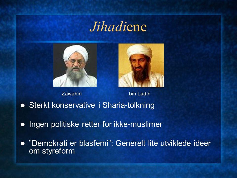 """Jihadiene Sterkt konservative i Sharia-tolkning Ingen politiske retter for ikke-muslimer """"Demokrati er blasfemi"""": Generelt lite utviklede ideer om sty"""