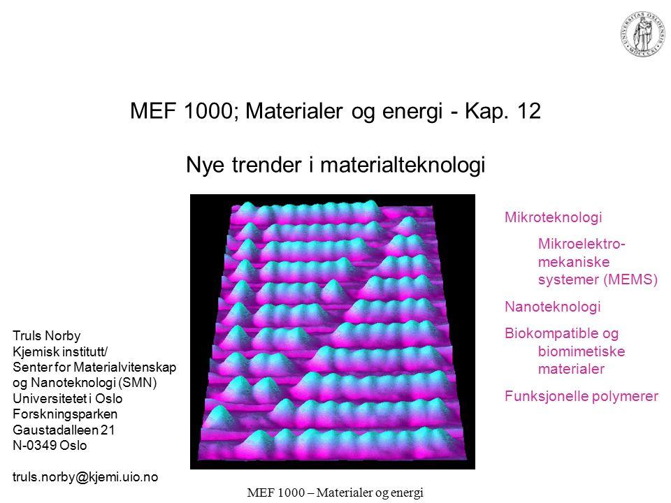 MEF 1000 – Materialer og energi MEF 1000; Materialer og energi - Kap.