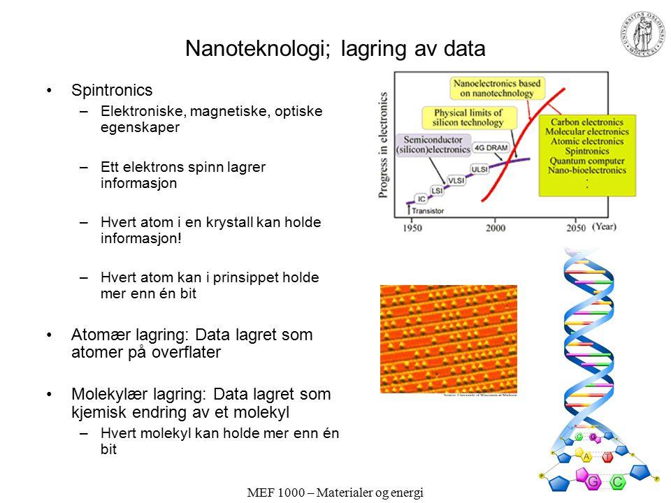 MEF 1000 – Materialer og energi Nanoteknologi; lagring av data Spintronics –Elektroniske, magnetiske, optiske egenskaper –Ett elektrons spinn lagrer informasjon –Hvert atom i en krystall kan holde informasjon.